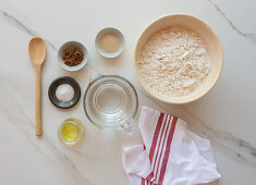 Ingredients for home made bread