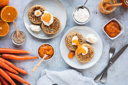 English crumpets with orange and carrot jam