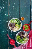 Sticky mirin and ginger pork meatball noodle bowls