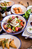 Village Greek salad with Greek dressing