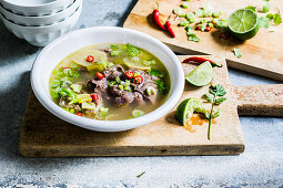 Thai beef soup with lime