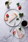 Vegan strawberry tart with strawberry jelly and soya yoghurt