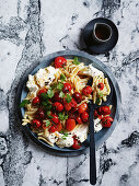 Casarecce with labneh, tomatoes and herbs