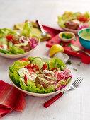 Burger with fresh salad