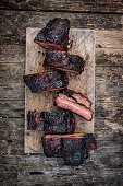 Grilled beef ribs, sliced