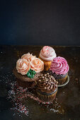 Four cupcakes for Valentines Day
