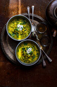 Indian dal with spinach, coconut oil, courgette and ginger