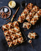 Maple and pecan hot cross buns with bacon butter