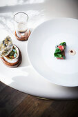 A Cornwall oyster on Wagyu beef with oyster-beef ragout and porcini mushrooms