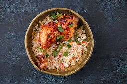 Middle Eastern grilled chicken and rice with vegetables