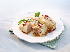 Cabbage roulade with vegetable rice