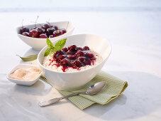 Cherry rice pudding