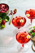 Strawberry pomegranate cocktail