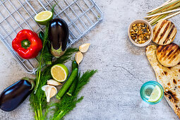 Topping ingredients to be barbecued for flatbreads