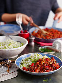 Chili con carne with green rice