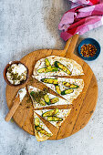 Barbecued Naan with small courgettes