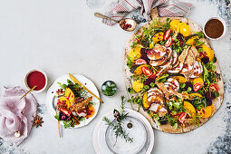 Roast Pork and gravy with orange and beetroot salad
