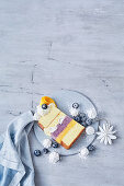 Freezy mango and blueberry trifle