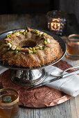 Tunisian-style kadayif in a bowl with nuts and pistachios