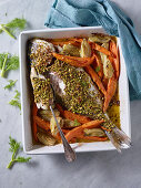 Bream with a pistachio crust on a sweet potato and fennel medley