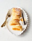Strudel with peaches