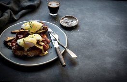 The ultimate sourdough eggs benedict with buttery mushrooms