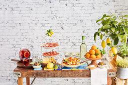 Mediterranean buffet with sangria