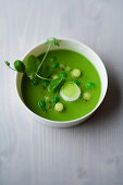 Pea and apple gazpacho with cumin and basil
