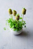 Chickpea and laurel croquettes with avocado cream