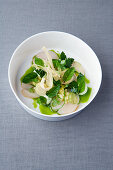 Scallop and lime tataki with root parsley and mint oil