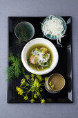 Dill dashi with scallops and fennel