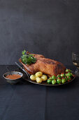 Stuffed duck with Brussels sprouts