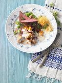 Danish Wadden Sea lamb with chanterelle mushrooms and broad beans