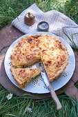 Finnish mushroom tart with thyme topped with mashed potatoes