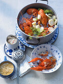 Cooked crayfish with two dips