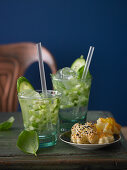 Basil Smash cocktails with puff pastry clover leaves