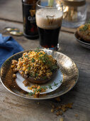 Stuffed mushrooms with Cheddar cheese