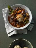 Porcini mushroom dumplings with stew