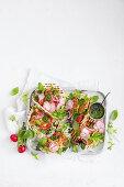 Fried feta salad wraps