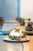 Viking eggs Benedict with graved lax