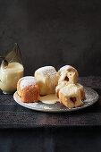 Bavarian Rohrnudeln (baked, sweet yeast dumplings) with vanilla sauce