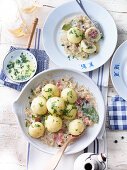 Meat dumplings with cabbage and bacon