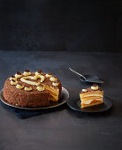 Sparkling wine cake with apricots and grated chocolate