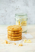 Vegan cookies with white chocolate and salted macadamia nuts