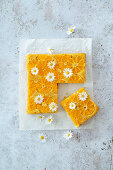 Vegan upside down orange cake with daisies