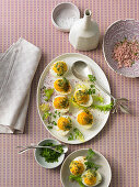 Stuffed eggs with fresh herbs