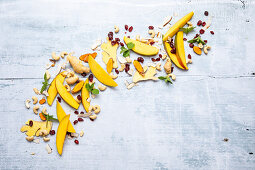 Mango, cashew nuts, cranberries, ginger and turmeric