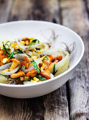 Steamed vegetables with chanterelle mushrooms and tarragon