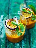 Passion fruit and mango shakes