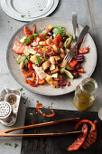 Greek salad with beans and grilled watermelon